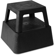 "Genuine Joe Structural Plastic Square Step Stool, 14-3/10"" X 14-3/10"", 350 Lbs., Black - GJO02428"