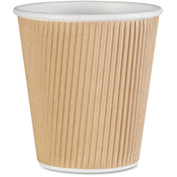 Genuine Joe Rippled Hot Cups, 10 oz., 500/CT, Brown - GJO11256CT