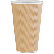 Genuine Joe Disposable Hot Cups, 16 oz., 500 / Ct., Brown - GJO11257CT