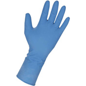 Genuine Joe Powdered Industrial Latex Gloves, 14 mil, M, Dark Blue, 50/Box