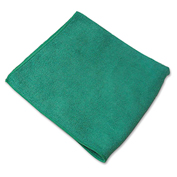 "Genuine Joe Microfiber Cloth, Gen. Purpose, Lint Free, 16"" x 16"", Green, 12/Bag - GJO39505"