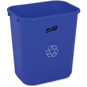"Genuine Joe Recycle Wastebasket 7 Gal. 15""H X 14-1/2""W Blue/White - GJO57257"