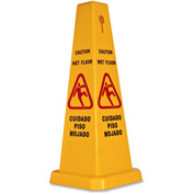 "Genuine Joe Four Sided Safety Caution Cone 10"" x 24"" Multi-Lingual, Yellow - GJO58880"