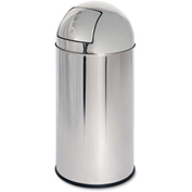 Genuine Joe Classic Round Top Receptacle 12 Gal. Stainless Steel - GJO58885