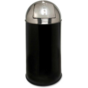 Genuine Joe Classic Round Top Receptacle 12 Gal. Black/Silver - GJO58886