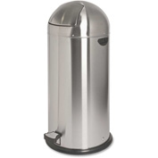 Genuine Joe Round-Top Pedal Receptacle Bin 13-1/2 Gal. Stainless Steel - GJO58888