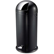Genuine Joe Round-Top Pedal Receptacle Bin 13-1/2 Gal. Steel Black - GJO58890