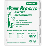 "Kleer-Fax Recycled Insertable Ring Book Index, 8.5""x11"", 5 Tabs, White/Clear"