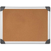 "Lorell Cork Board with Silver Frame, 36""W x 24""H"