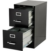 "Lorell® 2-Drawer Commercial-Grade Vertical File Cabinet, 15""W x 22""D x 28""H, Black"
