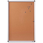 "Lorell Enclosed Cork Bulletin Board with Silver Frame, 48""W x 36""H"