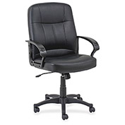 "Lorell® Chadwick Managerial Leather Mid-Back Chair, 26""W x 28""D x 42-1/2""H, Black"
