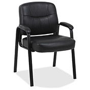 "Lorell® Chadwick Leather Guest Chair, 26""W x 28""D x 35""H, Black"
