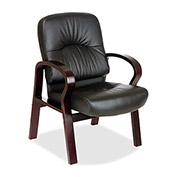 "Lorell® Woodbridge Leather Guest Chair, 26""W x 29""D x 37-1/2""H, Black/Mahogany"
