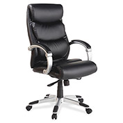 Lorell High-Back Executive Bonded Chair, LLR60620, Leather, Black