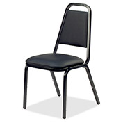"Lorell® Upholstered Stacking Chair, 18""W x 22""D x 34-1/2""H, Black, 4/Carton"