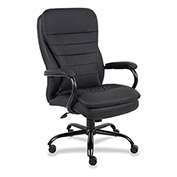 Lorell Executive Double Cushion Chair, LLR62624, Leather, Black