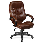 "Lorell® Westlake Executive Leather High-Back Chair, 26-1/2""W x 28-1/2""D x 46-1/2""H, Brown"