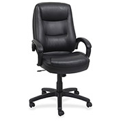 "Lorell® Westlake Executive Leather High-Back Chair, 26-1/2""W x 28-1/2""D x 46-1/2""H, Black"