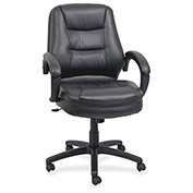 "Lorell® Westlake Managerial Leather Mid-Back Chair, 26-1/2""W x 28-1/2""D x 43""H, Black"