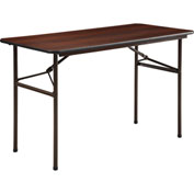 "Lorell® Economy Melamine Top Folding Table, 48""L x 24""W x 29""H, Mahogany"