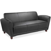 Lorell Bonded Reception Sofa, LLR68950, Leather, Black