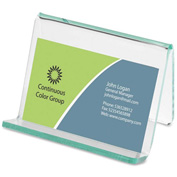 Lorell® Acrylic Transparent Green Edge Business Card Holder