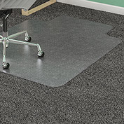 "Lorell Office Chair Mat for Carpet - 45""W x 53""L with 12"" x 25"" Lip - Straight Edge - Clear"