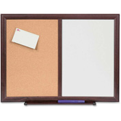 "Lorell Dry-Erase/Bulletin Combination Board with Mahogany Frame, 36""W x 48""H"