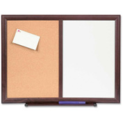 "Lorell Dry-Erase/Bulletin Combination Board with Mahogany Frame, 24""W x 18""H"