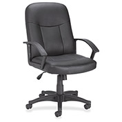 Lorell Mid-Back Executive Chair, LLR84869, Leather, Black