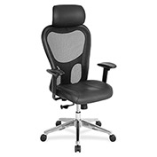 "Lorell® High-Back Executive Chair, 25""W x 23-5/8""D x 53""H, Black Leather Seat/Mesh Back"