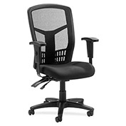 "Lorell® High-Back Executive Chair, 28-1/2""W x 28-1/2""D x 45""H, Black Fabric Seat/Mesh Back"