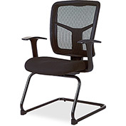"Lorell® Mesh Guest Chair, 27""W x 27-3/4""D x 41""H, Black Fabric Seat/Mesh Back"