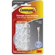 3M™ Cord Clip, Flat, with Adhesive, Clear, 4/Pack