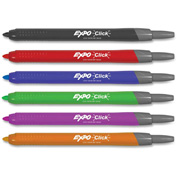 Expo Click Dry erase Marker - Fine Marker Point Type - Assorted Ink, 6/Pack