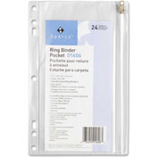 """Ring Binder Pocket, w/ Zipper, Vinyl, Hole Punched, 9-1/2""""x6"""", Clear"""