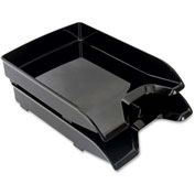 "Letter Trays, Front-Loading, 9-7/8""x13-1/5""x1-3/4, 2/Pk, Black"