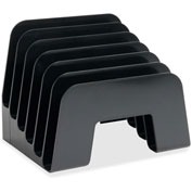 "Incline Desk Sorter, 6 Compartment, 8""x7-3/4""x6-1/2"", Black"