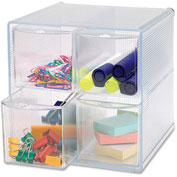 "Storage Organizer, 4 Drawer, 6""x6-3/4""x6"", Clear"