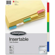 "Wilson Jones Insertable Tab Indexes, 8.5""x11"", 5 Tabs, Buff/Multicolor"