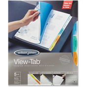 Wilson Jones View-Tab Transparent Divider, Square Tab/5 Tabs, Clear/Multicolor