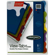 "Wilson Jones View-Tab Subject Divider with Pockets, 8.5""x11"", 5 Tabs, Clear/Assorted"