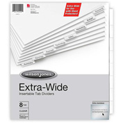 "Wilson Jones Oversized Insertable Tab Indexes, 9.25""x11"", 8 Tabs, White/Clear"