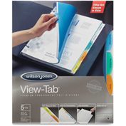 "Wilson Jones View-Tab Transparent Divider Set, 8.5""x11"", 5 Tabs, 5 Sets, Clear/Multicolor"