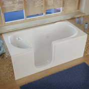 MediTub 3060 Series Rectangular Whirlpool Walk-In Bathtub, 30 x 60, Left Drain , White