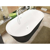 Atlantis Whirlpools Valley Oval Soaking Bathtub, 32 x 65, Center Drain, White Inside, Black Outside