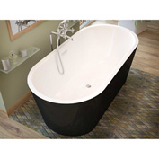 Atlantis Whirlpools Valley Oval Soaking Bathtub, 32 x 67, Center Drain, White Inside, Black Outside