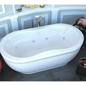 Atlantis Whirlpools Embrace Oval Freestanding Whirlpool Bathtub, 34 x 71, Center Drain, White