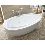 Atlantis Whirlpools Breeze Oval Freestanding Whirlpool Bathtub, 38 x 71, Left or Right Drain, White